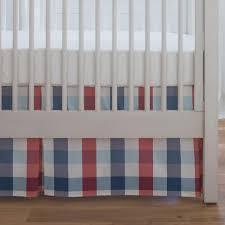 navy and red buffalo check crib skirt single pleat carousel designs
