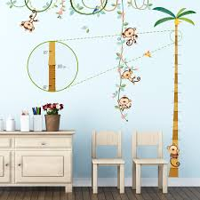 5 little monkeys tree wall stickers monkey height chart wall stickers