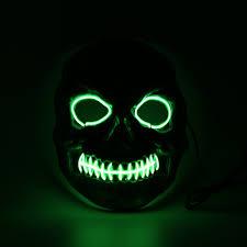 halloween light green el wire skull mask masks pinterest