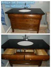 Dresser Turned Bathroom Vanity We Could Convert That Antique Desk Into A Bathroom Vanity With