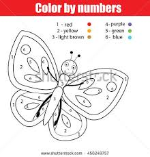 coloring butterfly color numbers stock vector 450249757