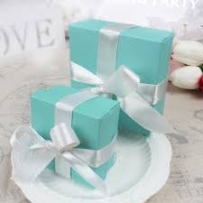 online shop 10pcs candy box with silk ribbon cute blue theme