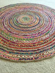 Rag Area Rug Rag Rug Boho Chic Hippie Area Rug Vegan Circle Colorful