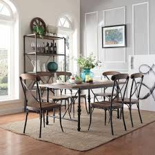 homesullivan cabella 7 piece distressed ash dining set 405099