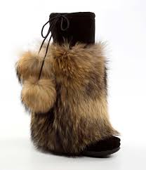 womens fur boots canada cha pa ta black suede outer with raccoon fur womens mukluks luxe
