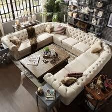 U Shaped Sectional Sofa Knightsbridge Tufted Scroll Arm Chesterfield 11 Seat U Shaped