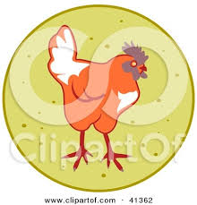 clipart illustration of a black and white sketch of a chicken by