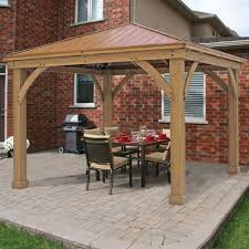 12x12 Patio Gazebo Metal Roof Gazebo Outdoor Aluminum Hardtop Patio Kits 12x12 Wooden