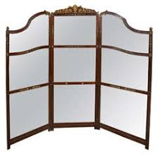 1960s three panel rattan and mirror floor screen room divider for