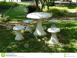 Stone Chair White Stone Chair And Table In The Garden Stock Photo Image