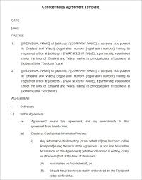 Non Disclosure Statement Template by Confidentiality Agreement Template Free Free Non Disclosure