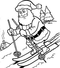 santa claus enjoying snowy christmas coloring pages