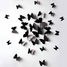 amazon com black 24pcs 3d butterfly wall stickers decor
