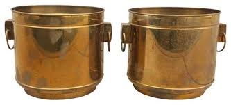 large vintage modern brass planters indoor pots and planters