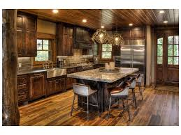 timber stone wall pendant light rustic kitchen cabinets beam