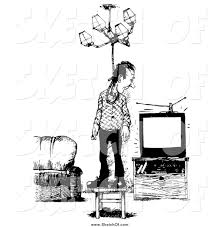 Free Chandelier Clip Art Drawing Of A Black And White Sketched Man Trying To Hang Himself