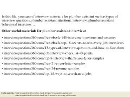 plumbing resume sample top plumber assistant interview questions