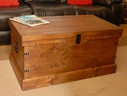 wooden chest trunk large pine ottoman coffee table vintage style