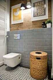 Gray Subway Tile Bathroom by Grey Subway Tiled And Wood Bathroom U2026 Pinteres U2026