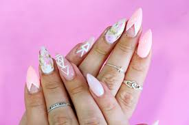 pastel pink u0026 gold foil marble nail art