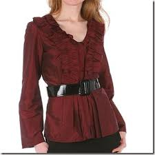 belted blouse wdny ruffled taffeta belted blouse thegloss