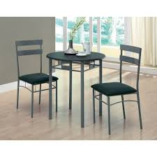 Silver Dining Table And Chairs Monarch Dining Set 3pcs Set Cappuccino Silver Metal Walmart Com