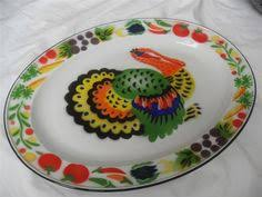 vintage enamel metal large oval turkey serving platter thanksgiving