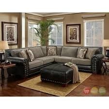 Charcoal Sectional Sofa Avanti Traditional Charcoal Black Sectional Sofa W Nailhead