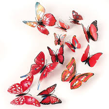12pcs 3d butterfly red wall stickers art decals home wedding party 12pcs 3d butterfly red wall stickers art decals home wedding party decoration