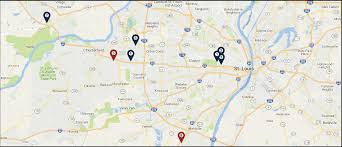 Map Of St Louis Area Office Locations Washington University Orthopedics St Louis