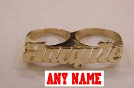 name ring gold 10k gold two finger name rings personalized cc2 nikfine
