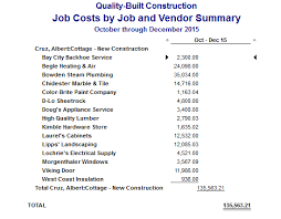 Construction Expense Report Template by Quickbooks Costing Reports
