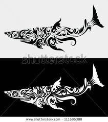 shark floral ornament fish drawing flora stock vector 111595388