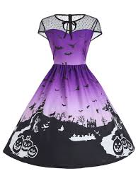 purple xl vintage mesh panel halloween a line dress rosegal com