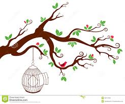 tree branch with bird cage and beautiful birds stock illustration
