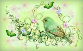 bird animal bow fantasy spring tricolor art design viola green