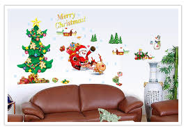 sale merry christmas xmas tree santa claus snowman wall decal