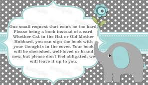 bring a book instead of a card baby shower elephant baby shower invitation bring a book instead of a card