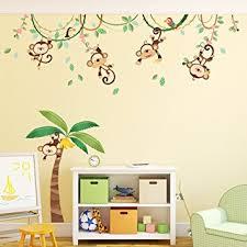 stikers chambre enfant decowall da 1507 singes sur vigne autocollants muraux mural stickers