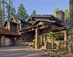wood and stone house home design