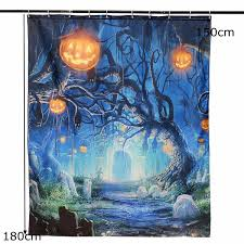 Halloween Bathroom Decor 150x180cm Halloween Ghost Pumpkin Polyester Shower Curtain