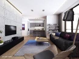 contemporary apartment living room design with wooden furniture
