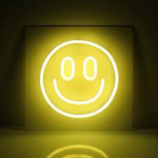 smile happy neon lights interior design yellow