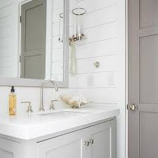 Gray Bathroom Vanity Light Gray Subway Tiles With White Bath Vanity Transitional