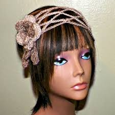 hippie hair bands flower headband mesh hippie boho earthtone crochet hair band