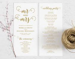 gold wedding programs gold wedding program template wedding ceremony program printable