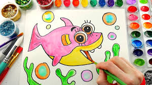 baby shark coloring page cute fish to color with watercolors and