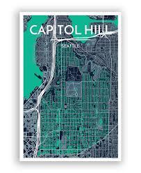 Capitol Hill Map Seattle Neighborhood City Map Print Starting 29 U0026 Free