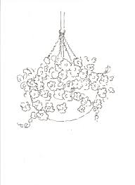 hanging flower basket drawing sketch coloring page