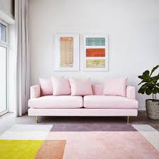 Cer Sleeper Sofa Sofa Margot Velvet Blush Et Tapis Element Par Gus